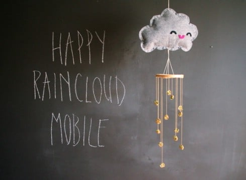 DIY Happy Raincloud Mobile - Top 28 Most Adorable DIY Baby Projects Of All Time