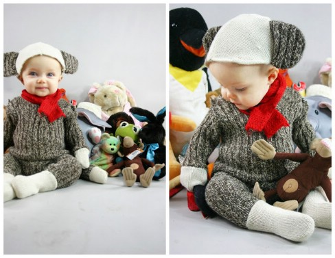 DIY Sock Monkey Costume - Top 28 Most Adorable DIY Baby Projects Of All Time