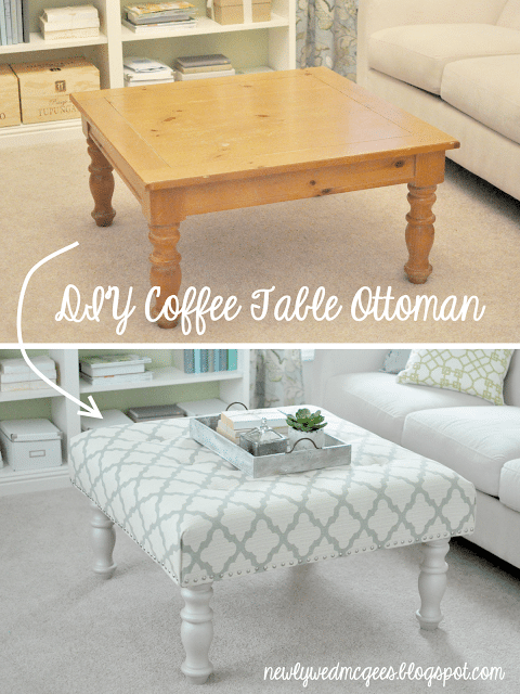 Living Room Diy Turn A Coffee Table Into An Upholstered Ottoman Diy Crafts