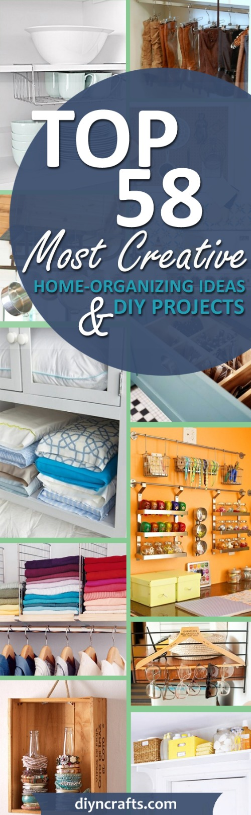Top 58 Most #Creative Home-Organizing Ideas and #DIY #Projects - #Organizing is great. I mean, without it you have those episodes of never being able to find what you need or not knowing where to put things when you buy them. While there are tons of products that you can buy that are designed to help you to get your home organized, we like the DIY of doing things so we have a few ideas for organization tips that you can do yourself, from things around your home.