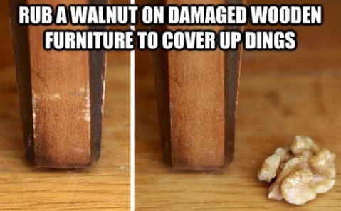 Walnut fix for damaged furnitures - Top 68 Lifehacks and Clever Ideas that Will Make Your Life Easier