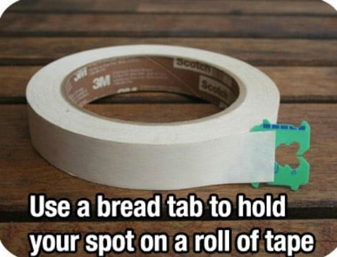Bread tab hold spot on a roller tape - Top 68 Lifehacks and Clever Ideas that Will Make Your Life Easier