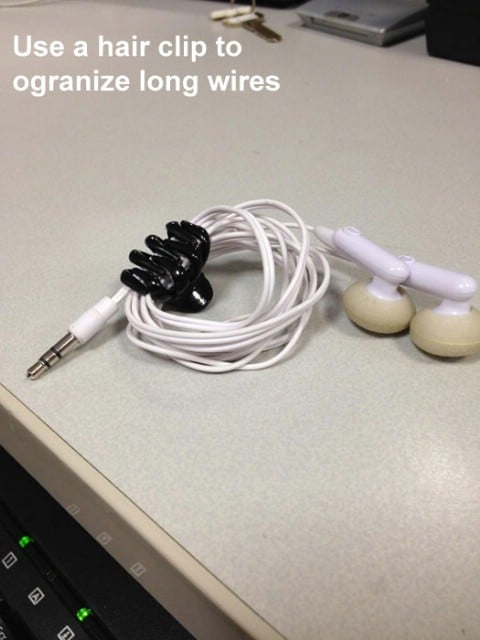 Use Hair Clip to Organize Long Wires - Top 68 Lifehacks and Clever Ideas that Will Make Your Life Easier