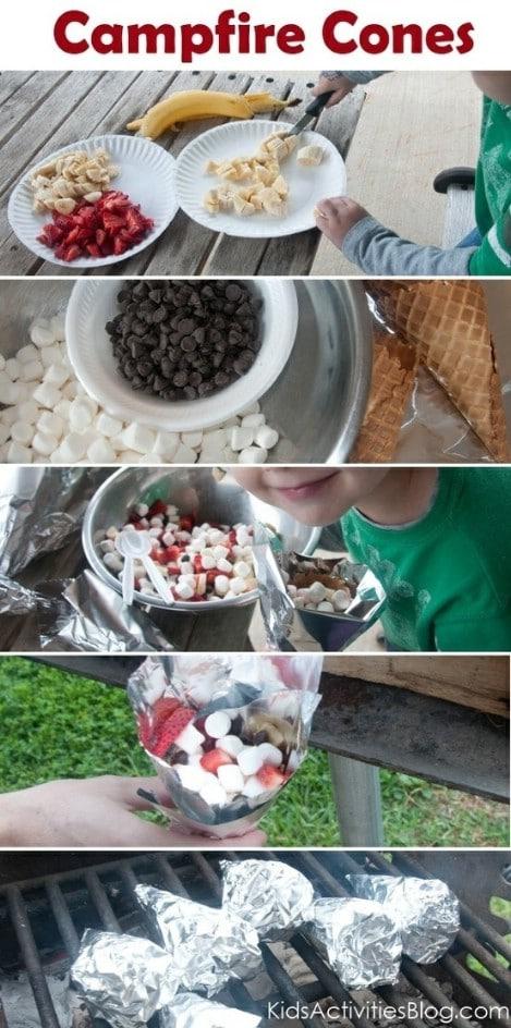 Camp Fire Food Fruit Smore Cones