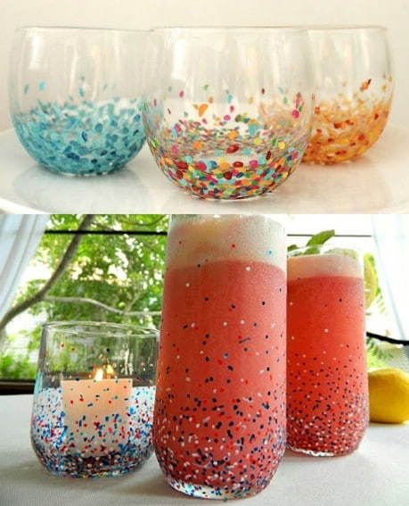 Easy Anthropologie Confetti Tumblers  - 32 Brilliant DIY Anthropologie Knockoffs