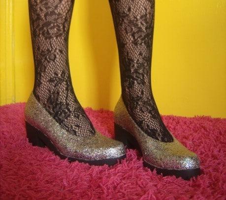 Anthro Inspired Glitter Shoes - 32 Brilliant DIY Anthropologie Knockoffs