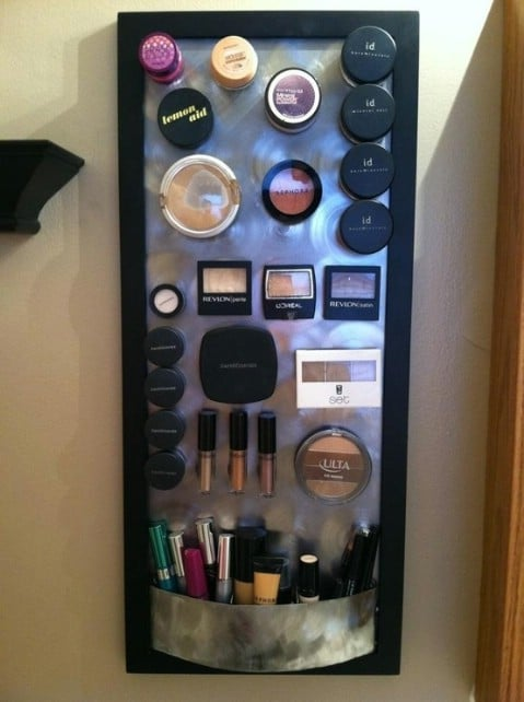DIY Magnetic Makeup Board - Top 58 Most Creative Home-Organizing Ideas and DIY Projects