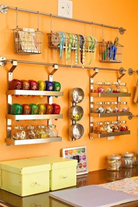 Diy Organization Part - 19: Use IKEA Grundtal To Organize Your Crafts - Top 58 Most Creative Home- Organizing Ideas
