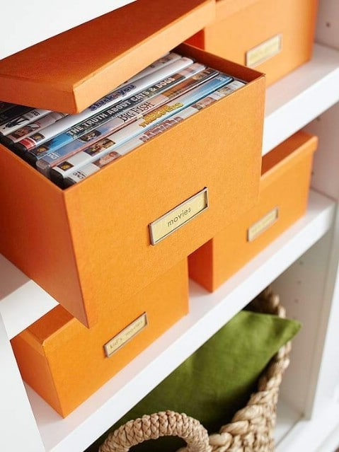 Store DVDs in Boxes - Top 58 Most Creative Home-Organizing Ideas and DIY Projects