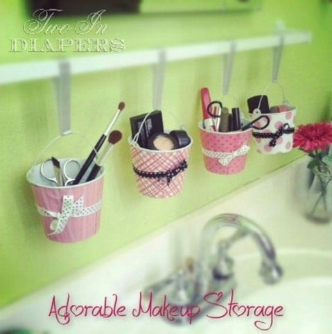 Cute DIY Hanging Makeup Organization - Top 58 Most Creative Home-Organizing Ideas and DIY Projects