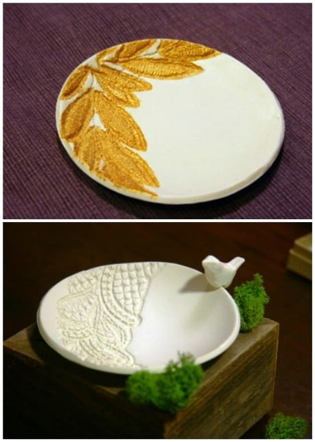 How to create an Anthro inspired lace embossed dish. - 32 Brilliant DIY Anthropologie Knockoffs