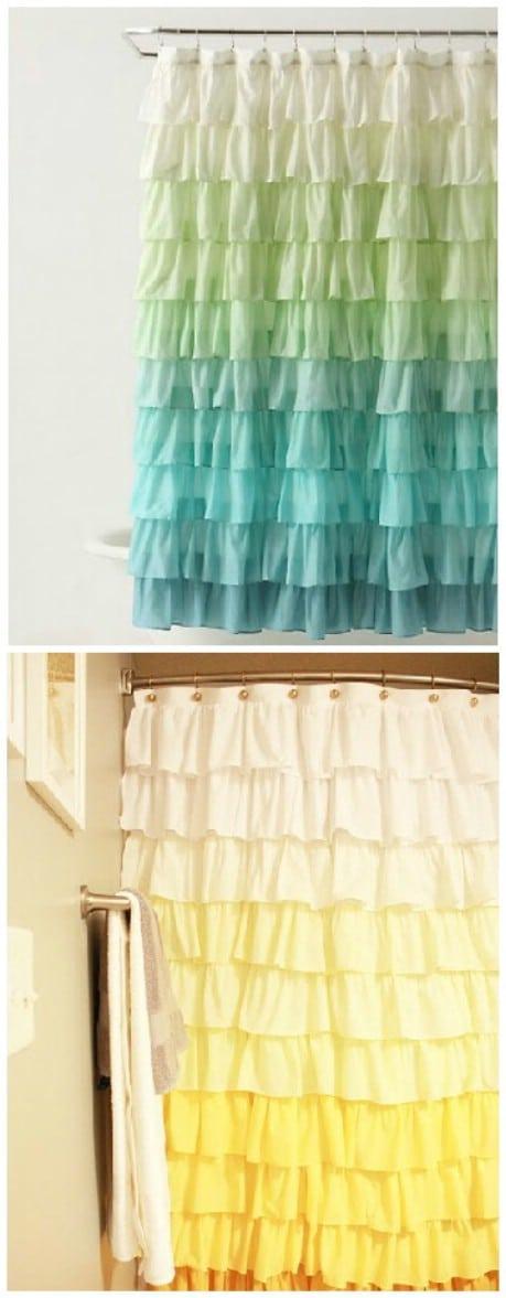 Anthropologie Ruffle Shower Curtain Tutorial  - 32 Brilliant DIY Anthropologie Knockoffs