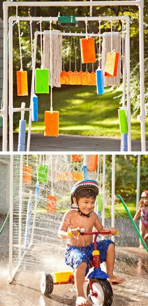DIY  Kids' Car Wash Sprinkler - 35 Summery DIY Projects And Activities For The Best Summer Ever