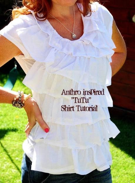 $4 Tee + $1 Dollar Store Towel = Fabulous Anthro-inspired Shirt!! - 32 Brilliant DIY Anthropologie Knockoffs