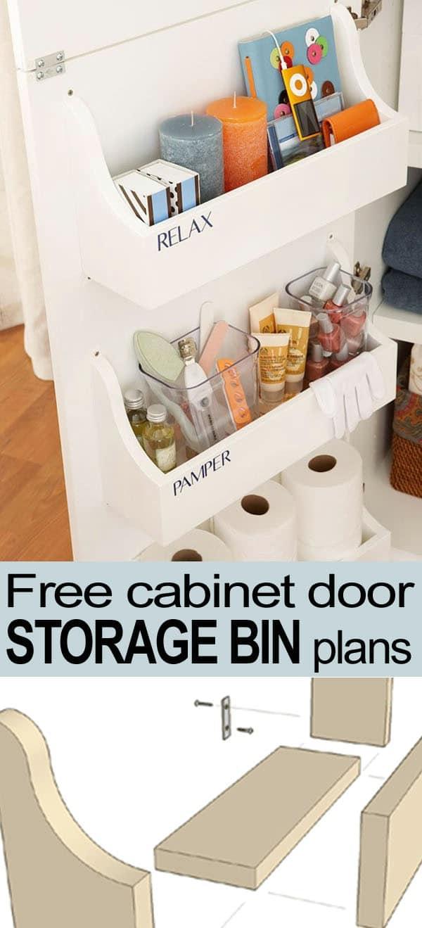Free Cabinet Door Storage Bin Plan - 30 Brilliant Bathroom Organization and Storage DIY Solutions