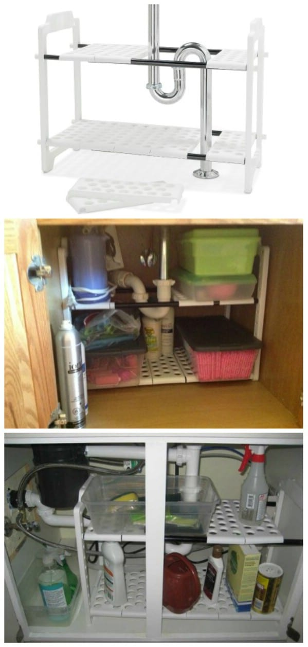 expandable under sink shelf organizer 30 brilliant bathroom organization and storage diy solutions - Bathroom Under Sink Storage Ideas