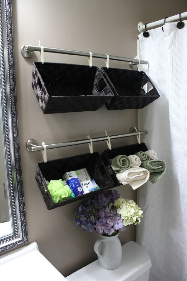 a wall full of baskets 30 brilliant bathroom organization - Diy Small Bathroom Storage