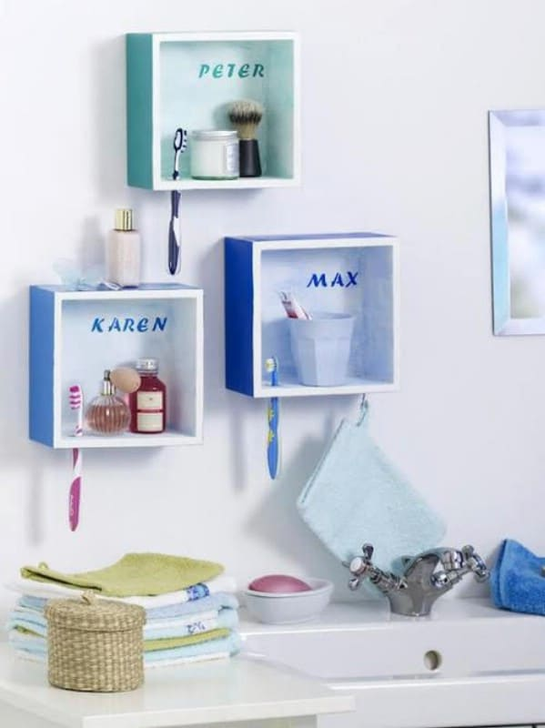 30 brilliant bathroom organization and storage diy solutions diy cute personalized bathroom shelves malvernweather Image collections