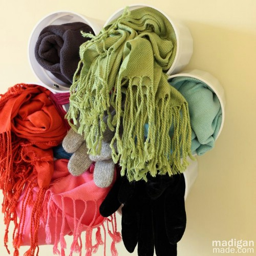 Plastic Cup Scarf Storage - 150 Dollar Store Organizing Ideas and Projects for the Entire Home