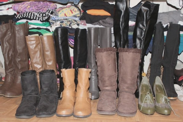 Organizing Boots in the Closet with Foam Noodles - 150 Dollar Store Organizing Ideas and Projects for the Entire Home