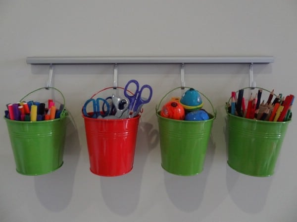 Buckets for Craft Organization - 150 Dollar Store Organizing Ideas and Projects for the Entire Home