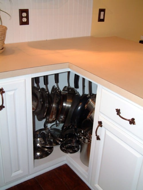 Hanging Pan Organization - 150 Dollar Store Organizing Ideas and Projects for the Entire Home