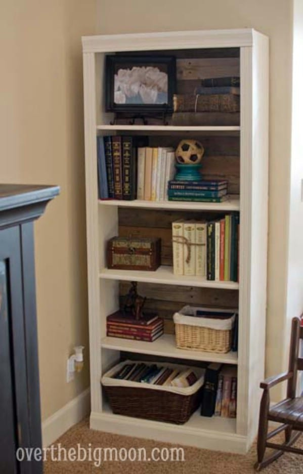 Pallet Backed Bookshelf - Top 60 Furniture Makeover DIY Projects and Negotiation Secrets