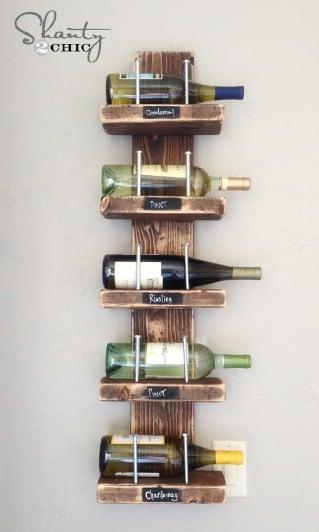DIY Wine Rack under 15$ - 60+ Innovative Kitchen Organization and Storage DIY Projects