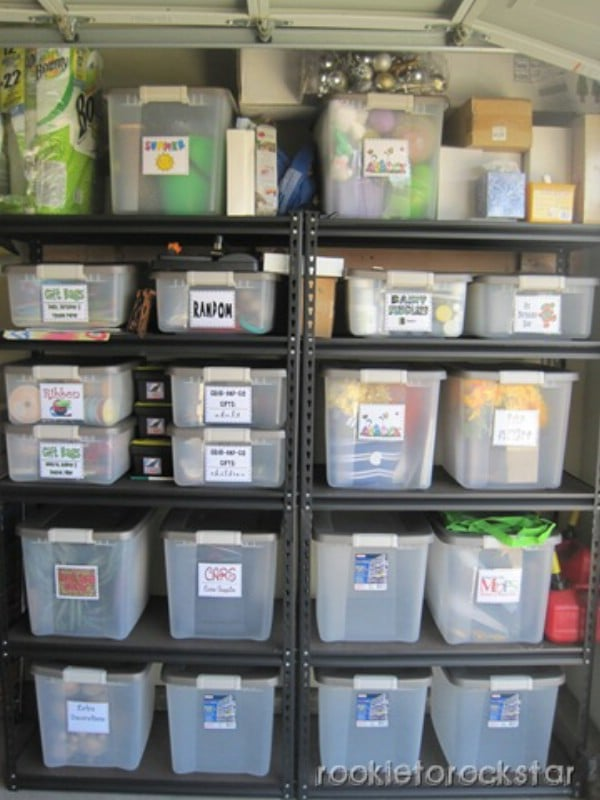 Plastic Tubs and Grouping - 49 Brilliant Garage Organization Tips, Ideas and DIY Projects