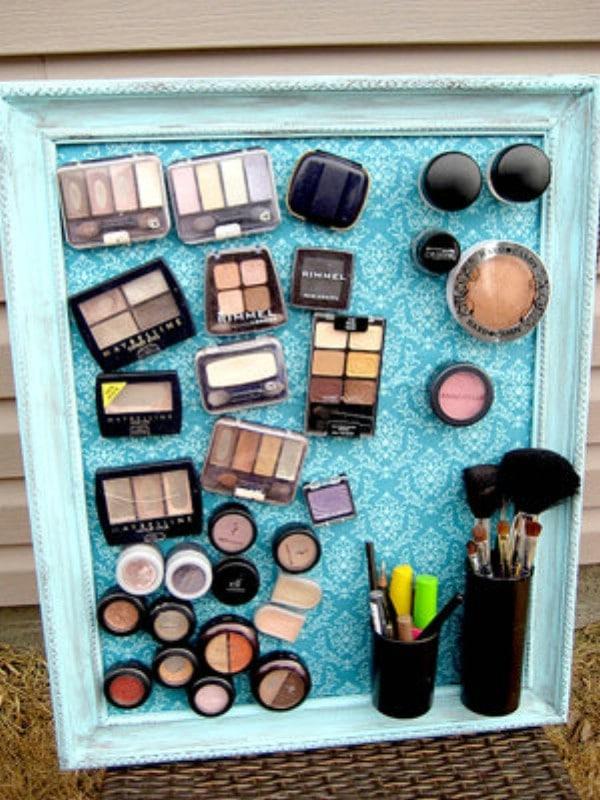 DIY Magnetic Makeup Board - 30 Brilliant Bathroom Organization and Storage DIY Solutions