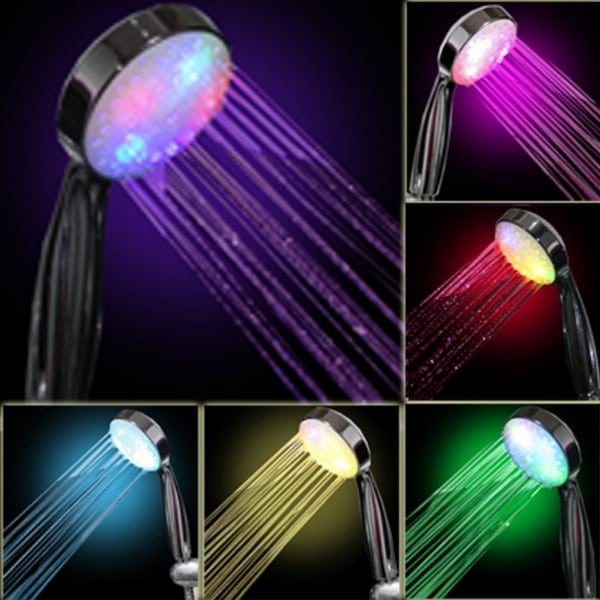 7 Color Led Shower Head - 30 Brilliant Bathroom Organization and Storage DIY Solutions