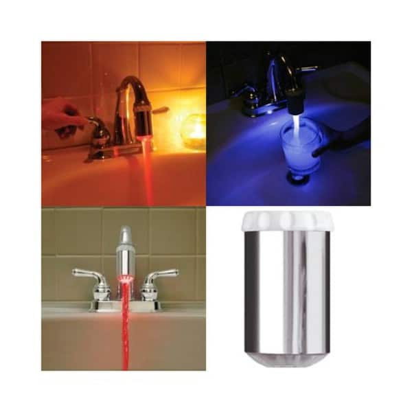 Temperature Sensitive LED Faucet Light Color Change - 30 Brilliant Bathroom Organization and Storage DIY Solutions