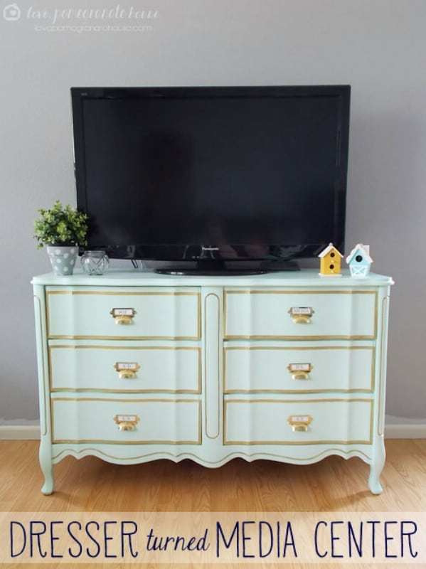 Dresser Turned Media Stand - Top 60 Furniture Makeover DIY Projects and Negotiation Secrets