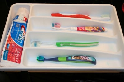 Toothbrush Organizer from a Silverware Holder