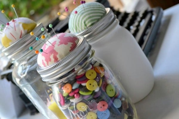 Pin Cushion and Sewing Storage from Mason Jars - 150 Dollar Store Organizing Ideas and Projects for the Entire Home