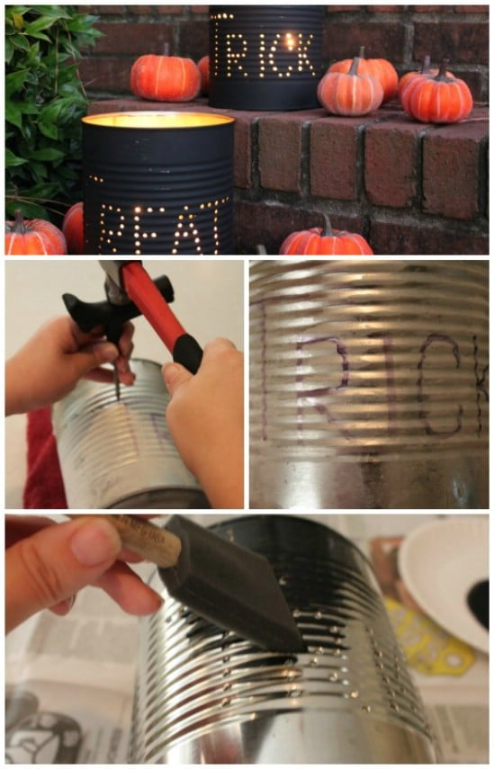 tin can luminaries 40 easy to make diy halloween decor ideas - Cheap Diy Halloween Decorations