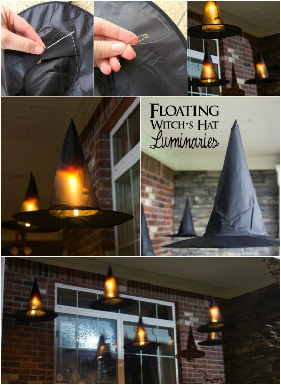 floating witch hat luminaries - Cheap Halloween Decor Ideas