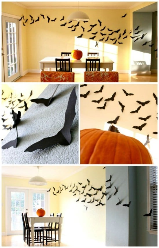 flying bats 40 easy to make diy halloween decor ideas - Cheap Diy Halloween Decorations