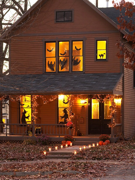 window silhouettes 40 easy to make diy halloween decor ideas - Halloween Home Decor Ideas