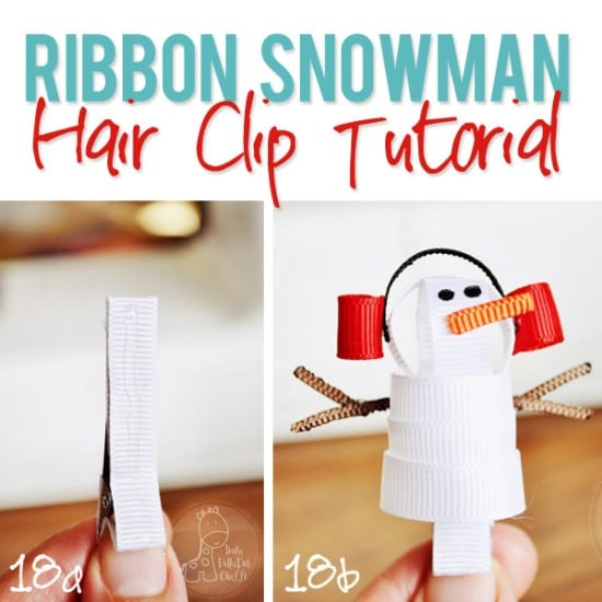 Snowman Bow - 30 Fabulous and Easy to Make DIY Hair Bows