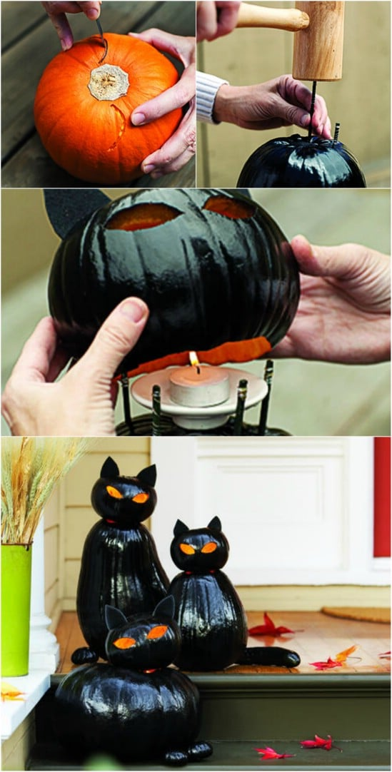 black cat olanterns - Candy Corn Halloween Decorations