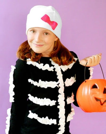 Ruffled Skeleton - 60 Fun and Easy DIY Halloween Costumes Your Kids Will Love