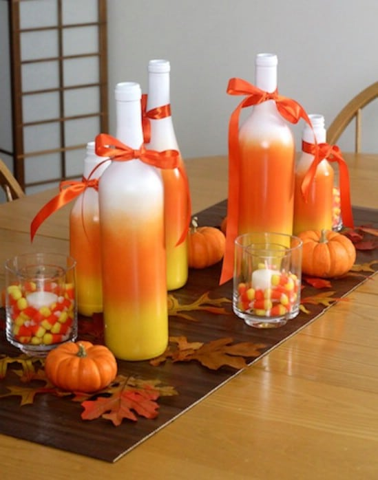 candy corn centerpiece 40 easy to make diy halloween decor ideas - Home Made Halloween Decorations