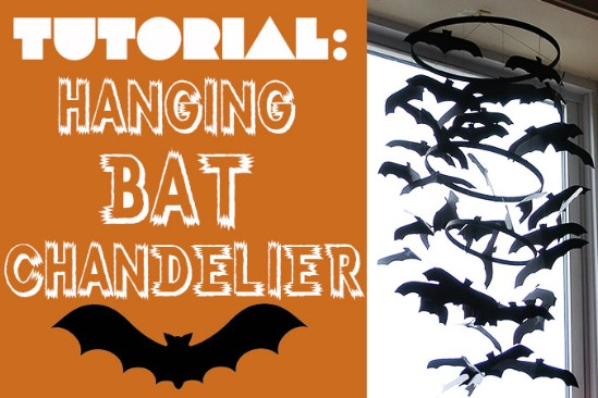 hanging bat chandelier 40 easy to make diy halloween decor ideas - Diy Halloween Decorations For Kids