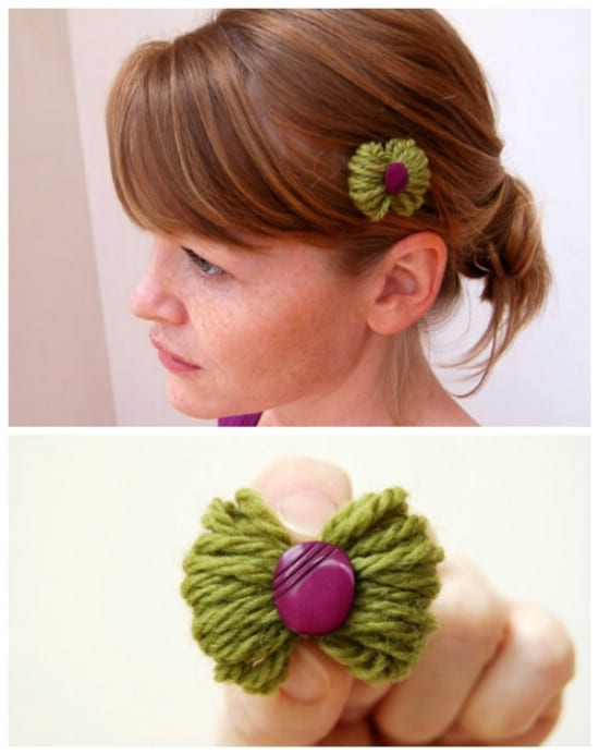Yarn Bow - 30 Fabulous and Easy to Make DIY Hair Bows