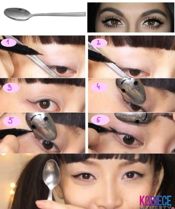 Get Winged Shape Eye Liner with a Spoon - 40 DIY Beauty Hacks That Are Borderline Genius