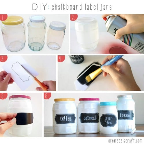 Label Jars with Chalkboard Paint - 20 of the Most Adorable DIY Kitchen Projects You've Ever Seen