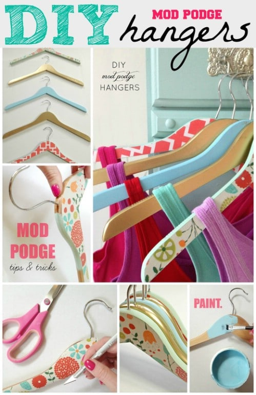 Decorative Mod Podge Hangers   20 Creative Ways To Organize And Decorate  With Hangers