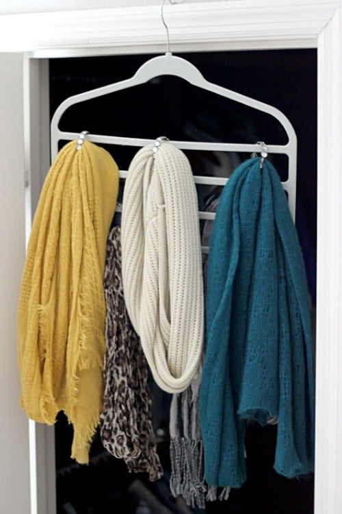 Hanging Scarf Organizer - 20 Creative Ways to Organize and Decorate with Hangers