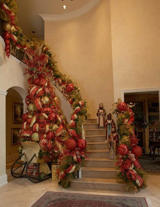 The Stairway - 30 Stunning Ways to Decorate Your Living Room This Christmas